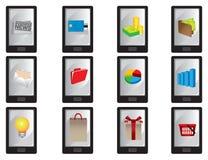 Smart mobiltelefon med affärssymboler Royaltyfri Foto