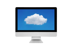 Smart modern PC showing cloud computing technology on screen. On white background.Photo design for cloud computing and smart technology internet of things Stock Images