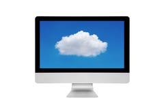 Smart modern PC som visar molnberäkningsteknologi på skärmen Arkivbilder