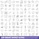 100 smart money icons set, outline style. 100 smart money icons set in outline style for any design vector illustration Royalty Free Stock Photos