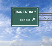 Smart money. Road Sign to smart money stock photos