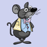 Smart mouse cartoon -  illustration. Vector illustration of a mouse in a glasses, jacket and bow tie Stock Photos