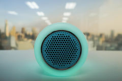 Smart music wireless speaker lamp in green. Bright smart music wireless speaker lamp in green Royalty Free Stock Images