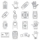 Smart nfc technology icon set, outline style stock illustration