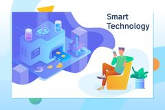 Smart object and smart technology design.Cryptocurrency and blockchain isometric composition vector illustration