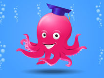 Smart octopus on sea Royalty Free Stock Image