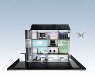 Smart office building on tablet PC. The smart office's energy support by solar panel, storage to battery system. Stock Photography
