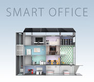Smart office concept. Energy support by solar panel, storage to battery system. With text Stock Images
