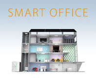 Smart office concept. Energy support by solar panel, storage to battery system. With text Stock Photos