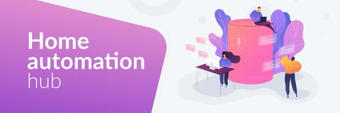 Smart speaker office controllerweb banner concept. vector illustration