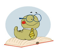 Smart old worm wearing a tie and glasses. Resting on an open book Royalty Free Stock Photos