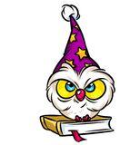 Smart owl book knowledge cartoon illustration Royalty Free Stock Photo