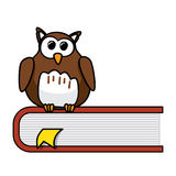 Smart owl. Smart cartoon owl sitting on a book, education concept Stock Images