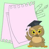 Smart owl cute character. Card with space for text. Vector doodle illustration Stock Photo