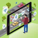Smart parking illustration of wireless smartphone app technology. Smart parking illustration. Man user with smartphone touch screen control car driving to vector illustration