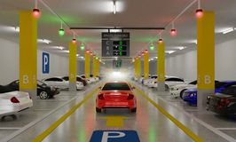 Smart Parking lot Guidance System with Overhead Indicators, Intelligent sensors assist control/monitor, Efficient management, 3D. Rendering stock illustration