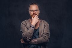 Smart pensive redhead hipster with full beard and glasses dressed in casual clothes, poses with hand on chin in a studio stock images