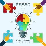 Smart people, bright ideas conceptual business background. vector illustration