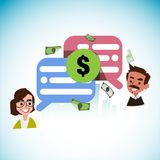 Smart people talk together about money with speech bubble - vect Royalty Free Stock Photography