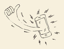 Smart Phon Perfectly Thumb Up Mobile Hand Drawn Royalty Free Stock Photography