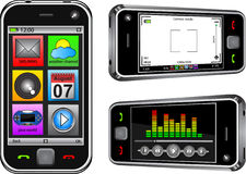 Smart phone. Mobile smart phone shown in different working modes Stock Image