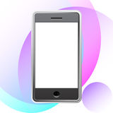 Smart phone. On white with colored circles background. Vector illustration Stock Images