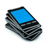 Smart-phone. 3d illustration of a pile of smart-phone isolated on white Royalty Free Stock Photos