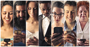 Smart phone addiction Stock Photography