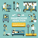 Smart phone addiction Royalty Free Stock Photography