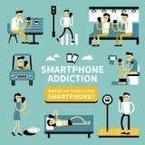 Smart phone addiction royalty free illustration