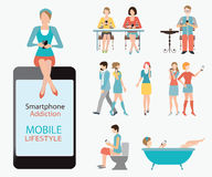 Smart phone addiction. Royalty Free Stock Photography