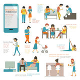 Smart phone addiction. Various and diverse people, multi-ethnic, using smart phone in concept of smartphone addiction. Flat design, simple character and easy to Royalty Free Stock Photography