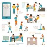 Smart phone addiction vector illustration