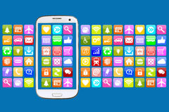 Smart phone with application apps app for internet communication Royalty Free Stock Photography