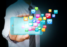 Smart phone with application icons. Smart phone with cloud of colorful application icons Royalty Free Stock Image
