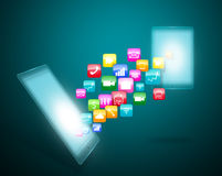 Smart phone with application icons. Smart phone touchscreen with cloud of application icons Royalty Free Stock Image