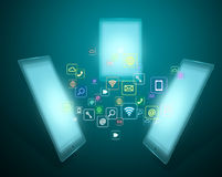 Smart phone with application icons Stock Photography