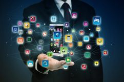 Smart phone application on internet stock photography
