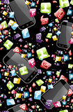 Smart phone application pattern Royalty Free Stock Images