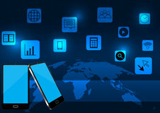 Smart phone and application with world map  Royalty Free Stock Photography