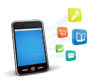 Smart phone and applications stock illustration