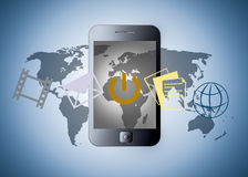 Smart phone with applications Royalty Free Stock Photography
