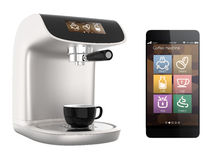 Smart phone apps for coffee machine. Original design Stock Image