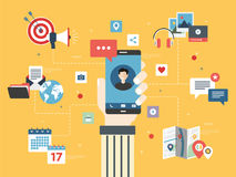 Smart phone apps and communication Royalty Free Stock Photos