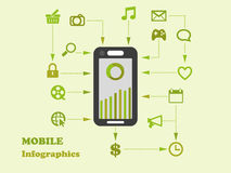 Smart-phone apps flat design info graphics element Royalty Free Stock Photography