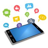 Smart phone and apps in speech bubbles Royalty Free Stock Photography