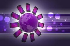 Smart phone around the globe Stock Images