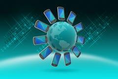 Smart phone around the globe Stock Photography
