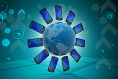 Smart phone around the globe Royalty Free Stock Photography