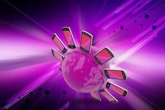 Smart phone around the globe Stock Photo